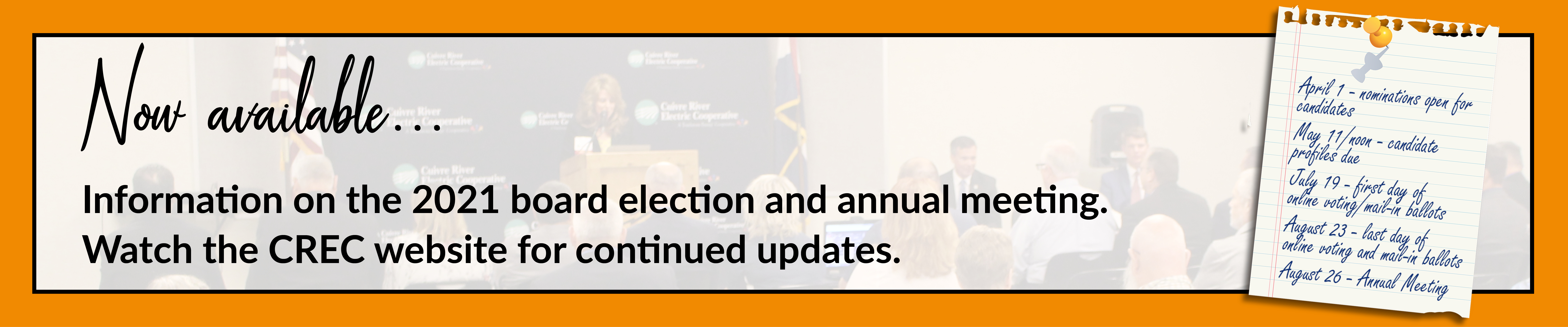 Information on the 2021 board election and annual meeting is now available. Click here to learn more
