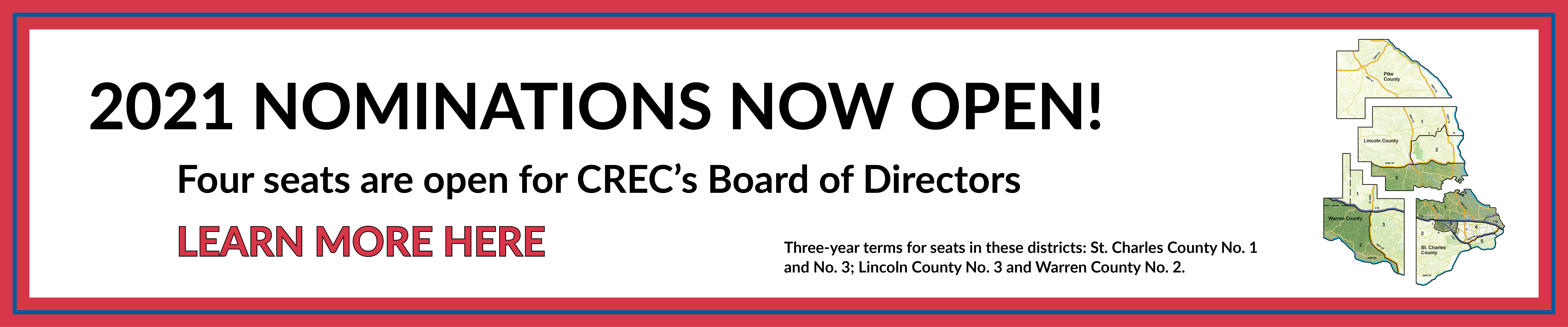 Nominations are now open for CREC's Board of Directors. Click here to learn more.