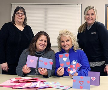 Cuivre employees create valentines cards for local nursing home residents